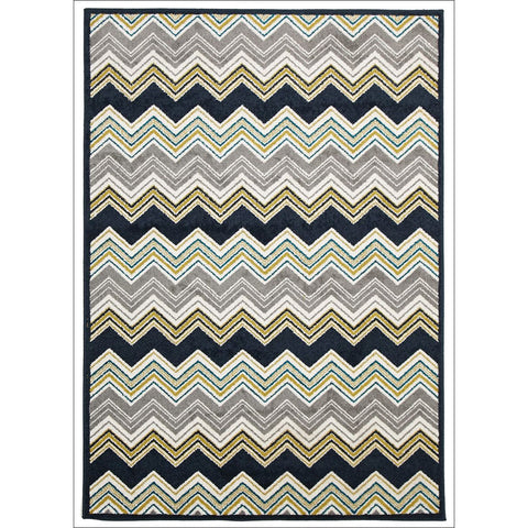 Cozumel 553 Indoor Outdoor Multi Coloured Chevron Patterned Rug - Rugs Of Beauty - 1