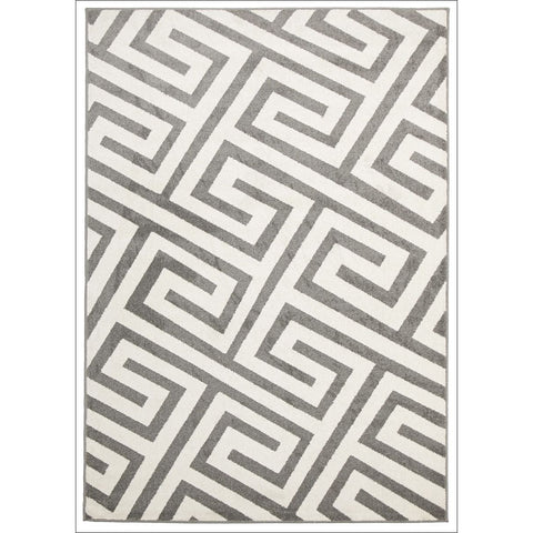 Cozumel 550 Indoor Outdoor Grey Maze Patterned Rug - Rugs Of Beauty - 1