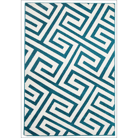 Cozumel 550 Indoor Outdoor Blue Maze Patterned Rug - Rugs Of Beauty - 1