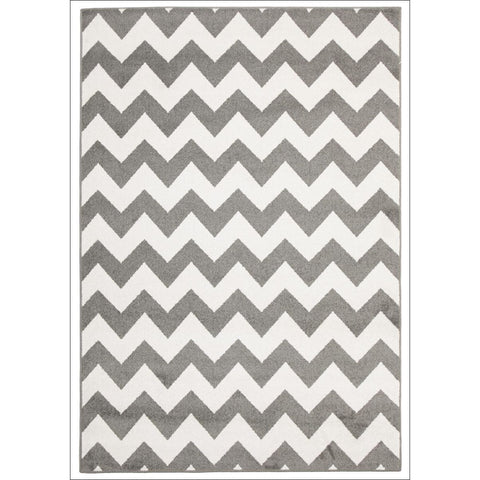 Cozumel 565 Grey Beige Zig Zag Chevron Indoor Outdoor Patterned Rug - Rugs Of Beauty - 1