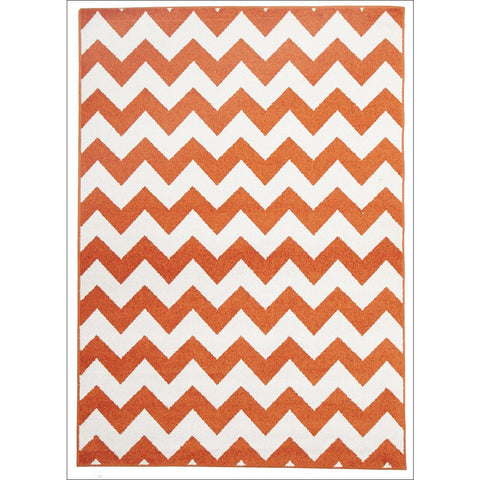 Cozumel 565 Orange Beige Zig Zag Chevron Indoor Outdoor Patterned Rug - Rugs Of Beauty - 1