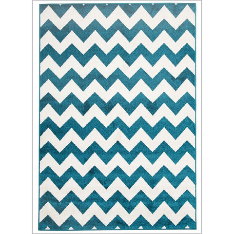 Cozumel 565 Blue Beige Zig Zag Chevron Indoor Outdoor Patterned Rug - Rugs Of Beauty - 1