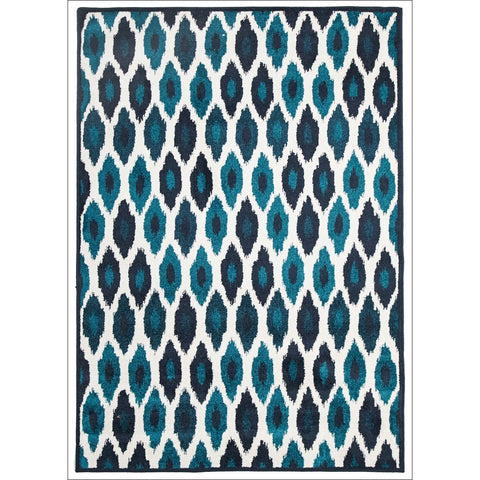 Cozumel 564 Navy Blue Aqua White Abstract Oval Indoor Outdoor Patterned Rug - Rugs Of Beauty - 1