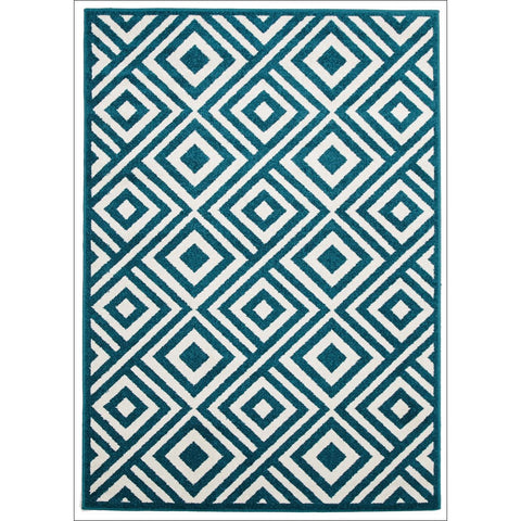 Cozumel 554 Indoor Outdoor Blue Diamond Patterned Rug - Rugs Of Beauty - 1