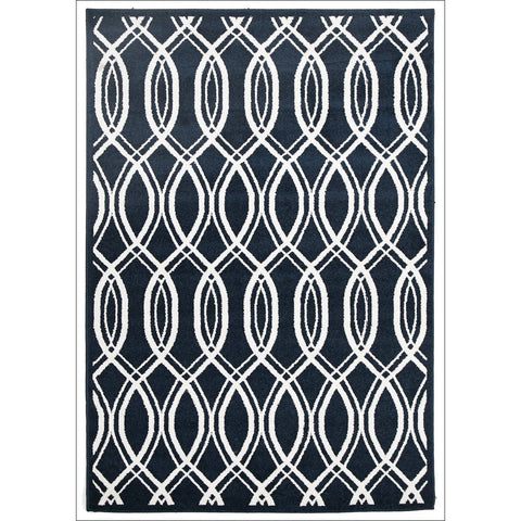 Cozumel 557 Indoor Outdoor Navy Blue Beige Lattice Weave Patterned Rug - Rugs Of Beauty - 1