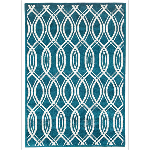 Cozumel 557 Indoor Outdoor Blue Beige Lattice Weave Patterned Rug - Rugs Of Beauty - 1