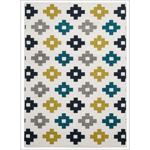 Cozumel 562 Indoor Outdoor Blue Grey Green Diamond Pixels White Patterned Rug - Rugs Of Beauty - 1