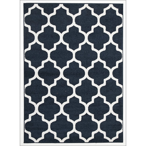 Indoor Outdoor Morocco Trellis Rug Navy - Rugs Of Beauty - 1