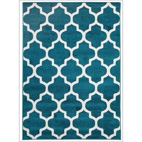 Indoor Outdoor Morocco Trellis Rug Peacock Blue - Rugs Of Beauty - 1