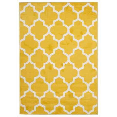 Cozumel 559 Indoor Outdoor Moroccan Yellow Beige Trellis Patterned Rug - Rugs Of Beauty - 1