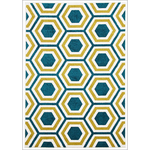 Cozumel 556 Indoor Outdoor Blue Gold White Honeycomb Patterned Rug - Rugs Of Beauty - 1