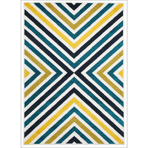 Cozumel 555 Indoor Outdoor Multi Coloured Cross Patterned Rug - Rugs Of Beauty - 1