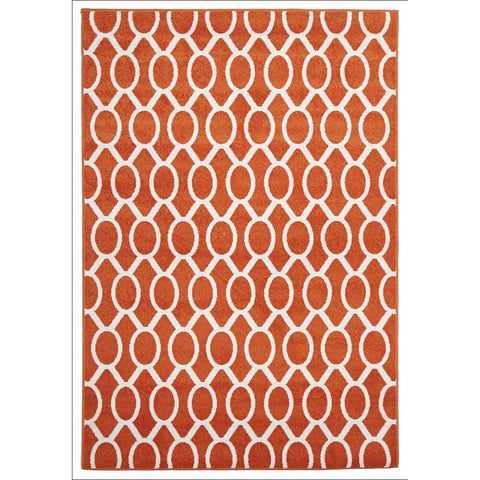 Cozumel 561 Indoor Outdoor Beige Orange Rust Linked Oval Patterned Rug - Rugs Of Beauty - 1