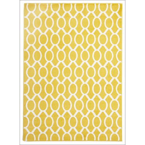 Cozumel 561 Indoor Outdoor Beige Yellow Linked Oval Patterned Rug - Rugs Of Beauty - 1