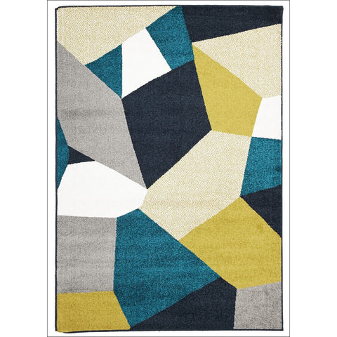 Cozumel 551 Indoor Outdoor Geometric Rug Blue Gold Grey - Rugs Of Beauty - 1