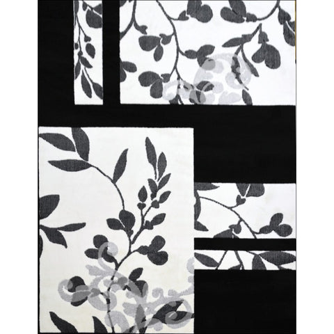 Retro Blossom Rug - Black - Rugs Of Beauty