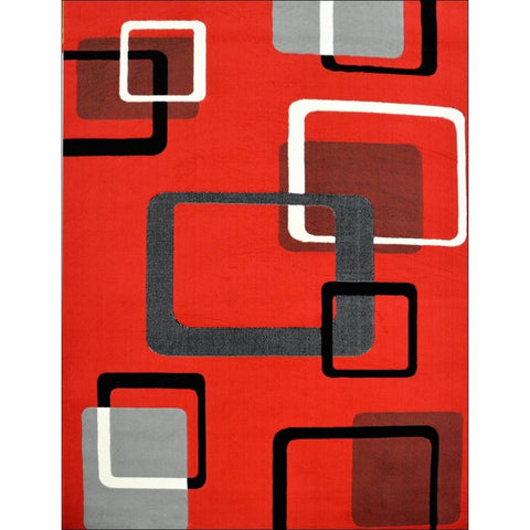 Retro Modern Square Cube Rug - Red - Rugs Of Beauty