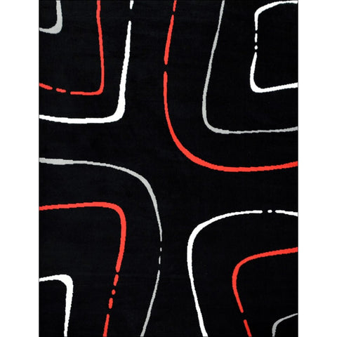 Contemporary Red White Pattern Festival Java Rug - Black - Rugs Of Beauty