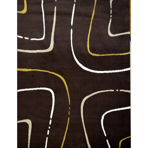 Contemporary Lime White Pattern Festival Java Rug - Brown - Rugs Of Beauty