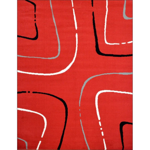 Contemporary Grey White Black Pattern Festival Java Rug - Red - Rugs Of Beauty