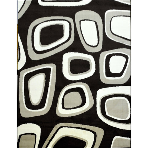 Contemporary Grey White Festival Zone Rug - Brown / Multi - Rugs Of Beauty