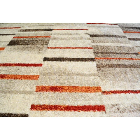 Beige & Red Pattern Designer Rug - Rugs Of Beauty - 1