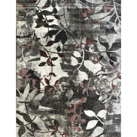 Dark Grey Red White Leaf Pattern Designer Rug - Rugs Of Beauty - 1