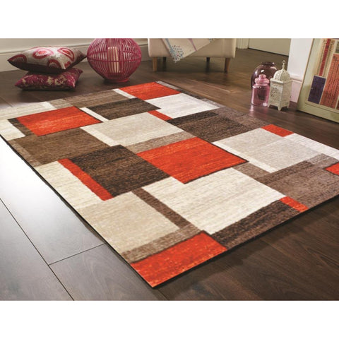 Red, Dark Beige & Beige Pattern Designer Rug - Rugs Of Beauty - 1