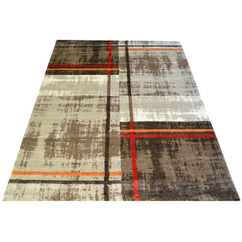 Dark Beige & Brown Pattern Designer Rug - Rugs Of Beauty - 1