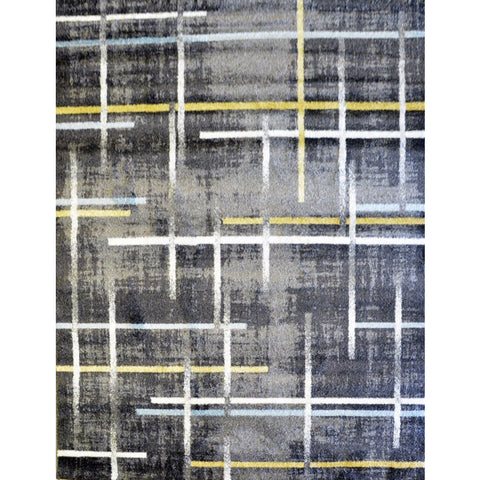 Anthracite & Blue Pattern Designer Rug - Rugs Of Beauty - 1