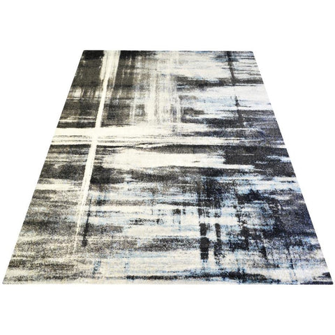 Grey & Blue Pattern Designer Rug - Rugs Of Beauty - 1