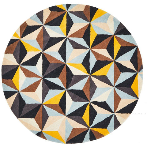 Lecce 1320 Multi Colour Geometric Pattern Wool Round Rug - Rugs Of Beauty - 1