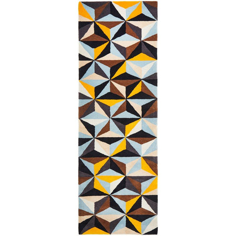 Lecce 1320 Multi Colour Geometric Pattern Wool Runner Rug - Rugs Of Beauty - 1