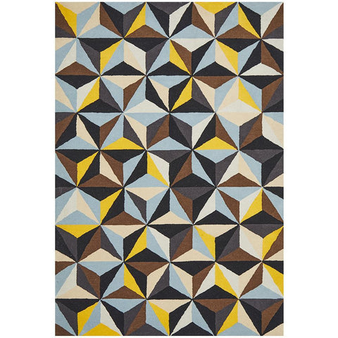 Lecce 1320 Multi Colour Geometric Pattern Wool Rug - Rugs Of Beauty - 1