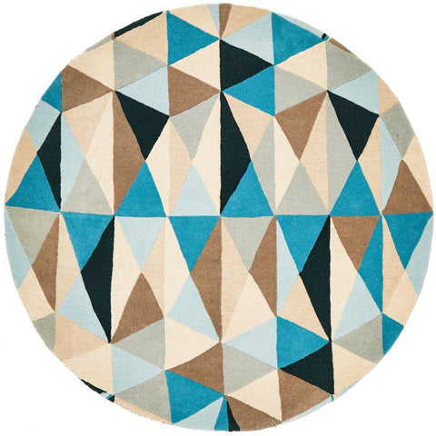 Lecce 1321 Blue Multi Colour Geometric Pattern Wool Round Rug - Rugs Of Beauty - 1