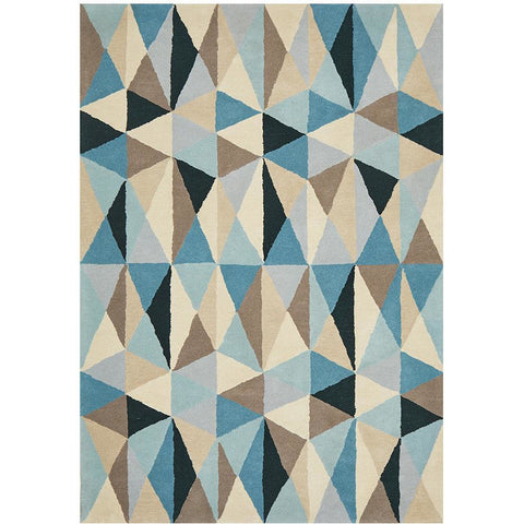 Lecce 1321 Blue Multi Colour Geometric Pattern Wool Rug - Rugs Of Beauty - 1