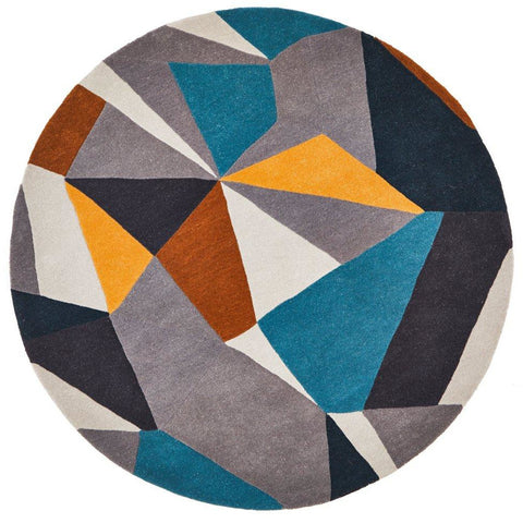 Lecce 1322 Blue Yellow Grey Multi Colour Geometric Pattern Wool Round Rug - Rugs Of Beauty - 1