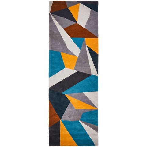 Lecce 1322 Blue Yellow Grey Multi Colour Geometric Pattern Wool Runner Rug - Rugs Of Beauty - 1