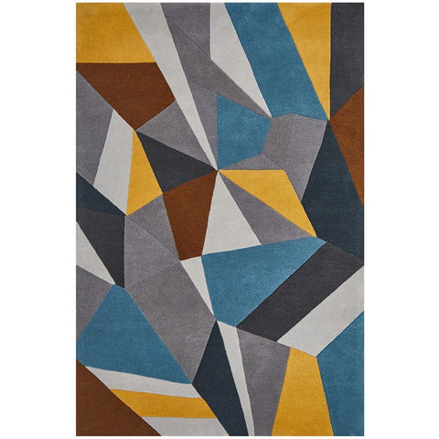 Lecce 1322 Blue Yellow Grey Multi Colour Geometric Pattern Wool Rug - Rugs Of Beauty - 1