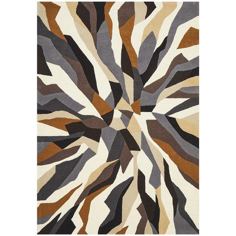 Lecce 1323 Brown White Grey Multi Colour Geometric Pattern Wool Rug - Rugs Of Beauty - 1