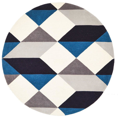 Lecce 1324 Blue Grey White Multi Colour Geometric Pattern Round Wool Rug - Rugs Of Beauty - 1