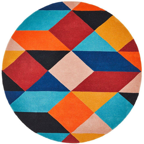 Lecce 1325 Rust Blue Navy Multi Colour Geometric Pattern Round Wool Rug - Rugs Of Beauty - 1