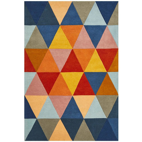 Lecce 1326 Rust Blue Navy Multi Colour Geometric Pattern Wool Rug - Rugs Of Beauty - 1