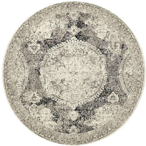 Adoni 152 Bohemian Charcoal Grey Round Rug - Rugs Of Beauty - 1