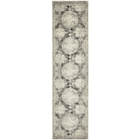 Adoni 152 Transitional Bohemian Charcoal Grey Runner Rug - Rugs Of Beauty - 1