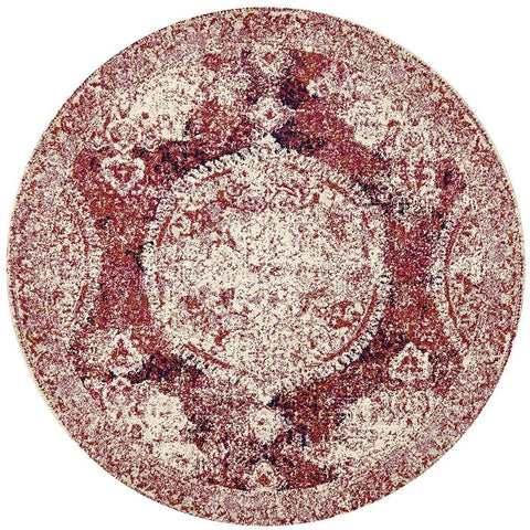 Adoni 152 Bohemian Fuchsia Round Rug - Rugs Of Beauty - 1