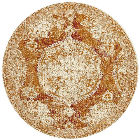 Adoni 152 Bohemian Rust Round Rug - Rugs Of Beauty - 1
