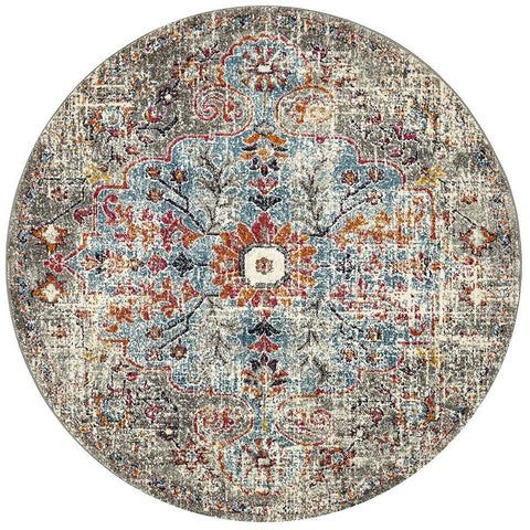 Adoni 153 Bohemian Multi Colour Round Rug - Rugs Of Beauty - 1