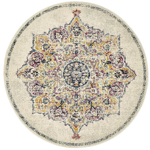 Adoni 154 Bohemian Bone Multi Coloured Round Rug - Rugs Of Beauty - 1