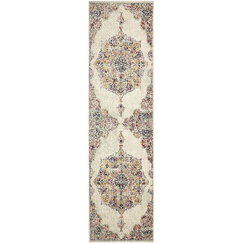 Adoni 154 Bohemian Bone Multi Coloured Runner Rug - Rugs Of Beauty - 1